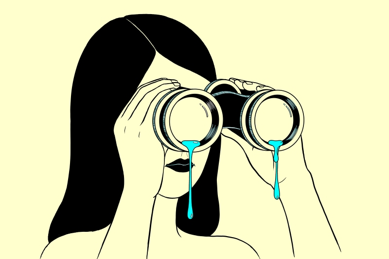 Illustration of a women holding binoculars with tears