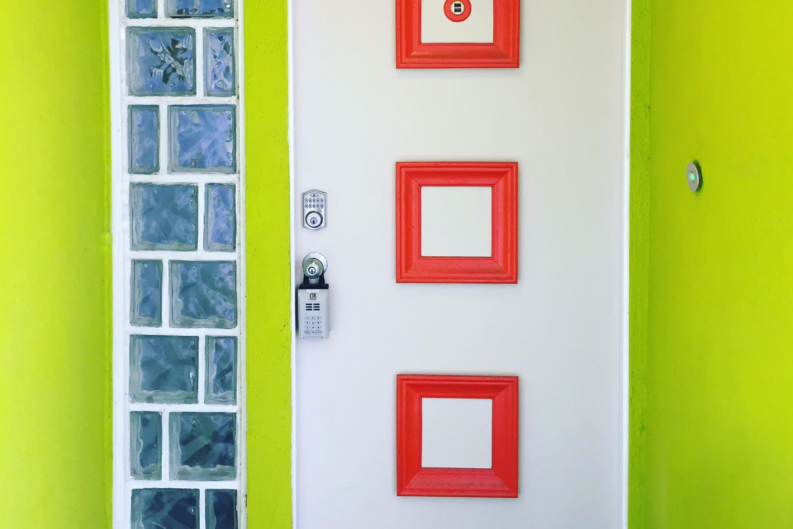Brightly painted front door