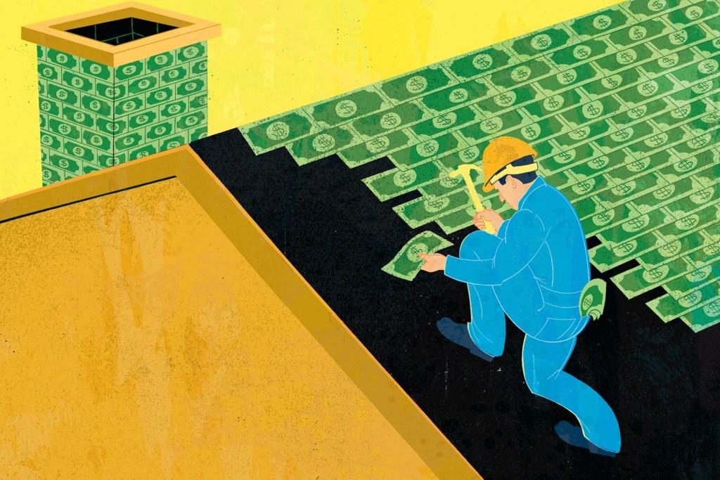 Illustration of man nailing dollar bills to a roof