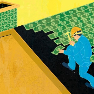 Illustration of man nailing dollar bills to a roof