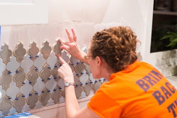 DIYing a tile backsplash in a home kitchen