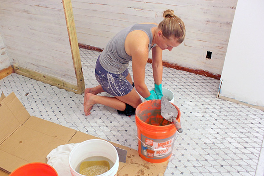 Grouting bathroom tile