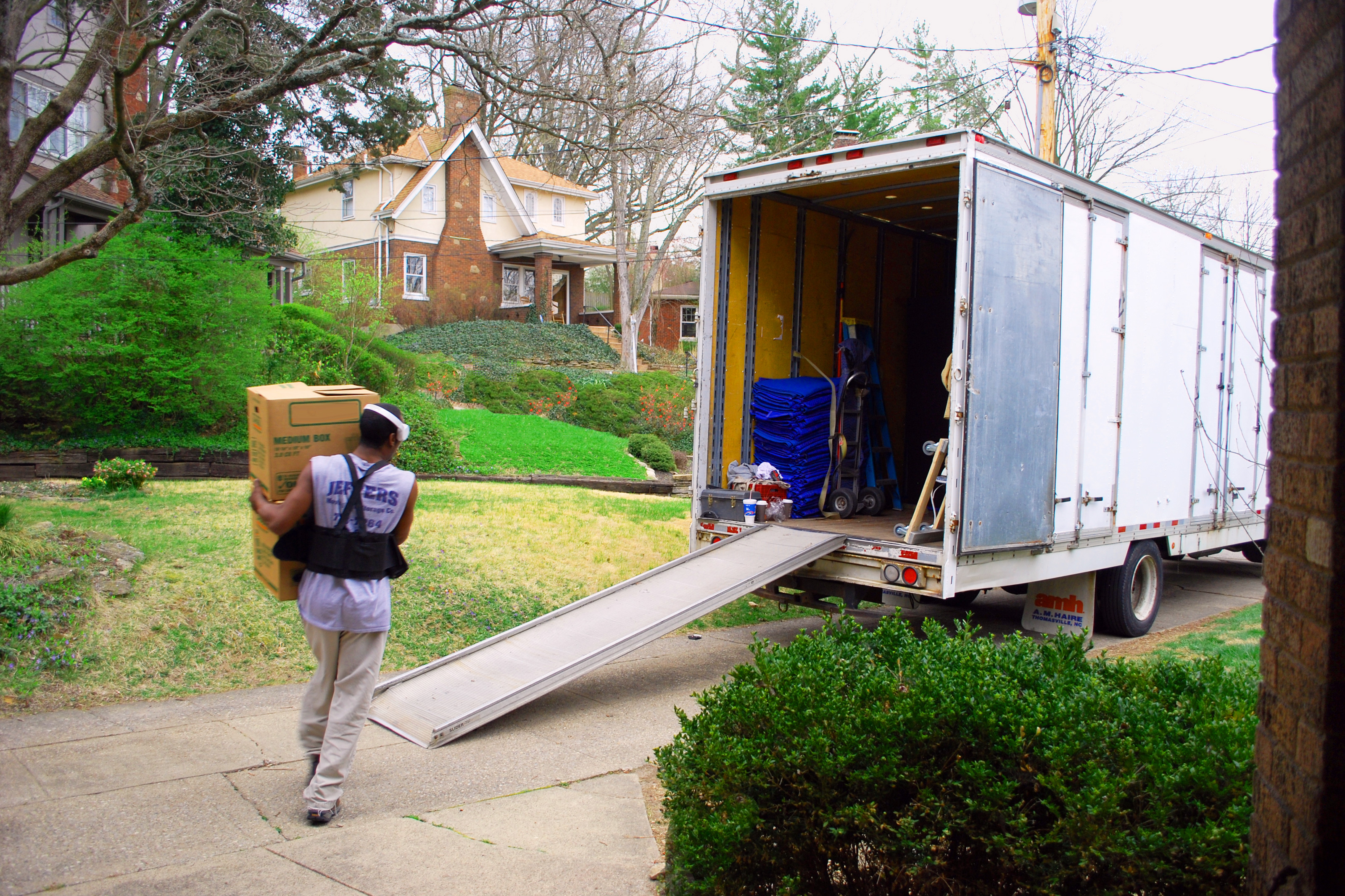 Moving items into a truck on moving day