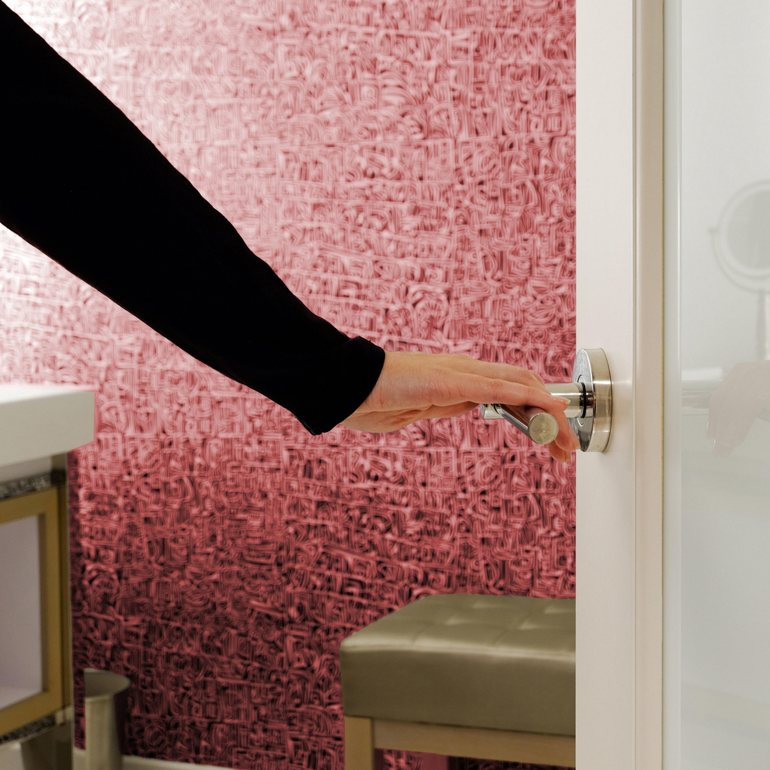 Opening a bathroom door at an open house