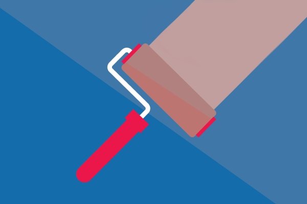 Vector illustration of paint roller streaking coral paint
