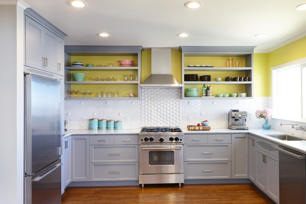 Yellow kitchen with open shelving