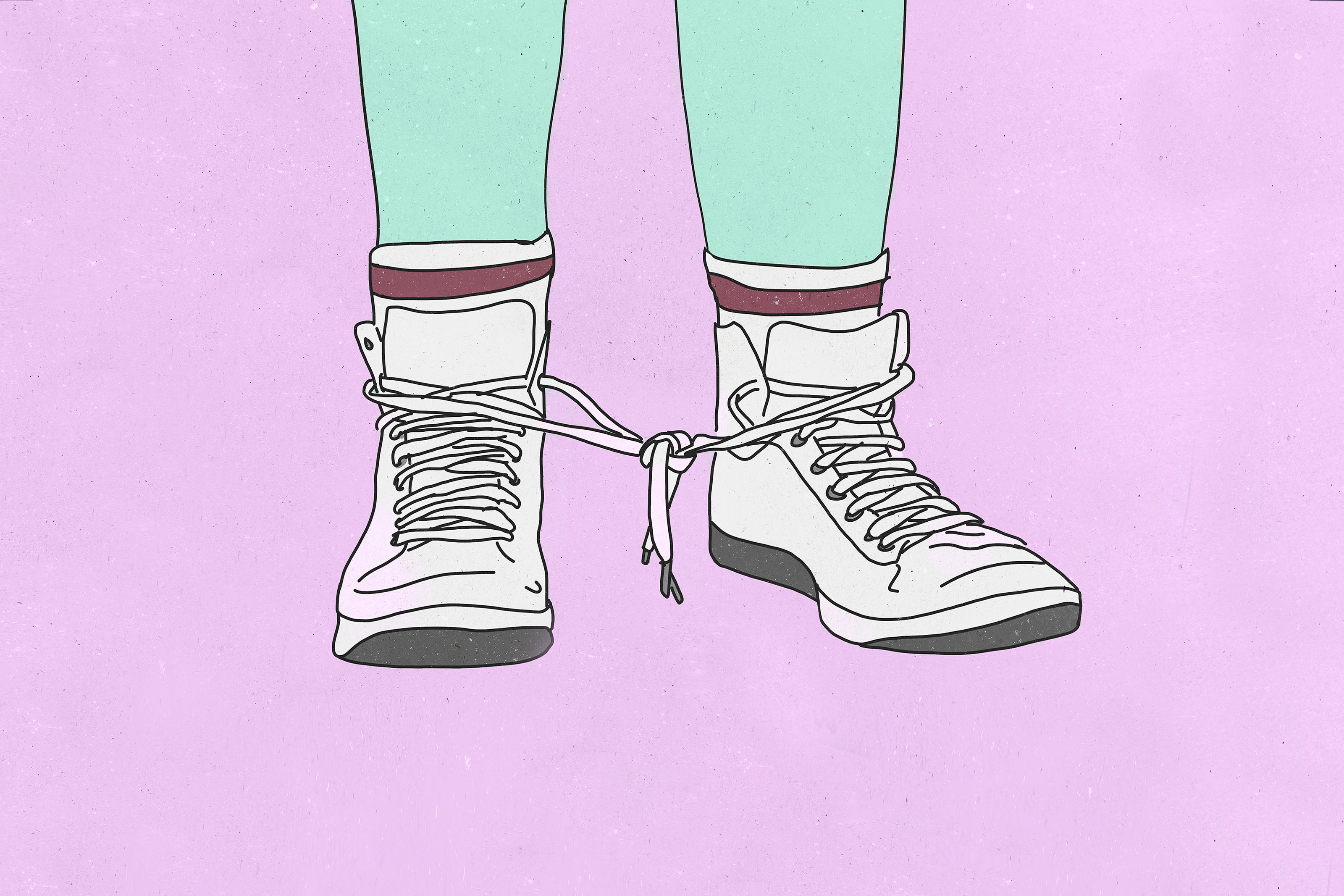 Illustration of tennis shoes with tied shoelaces in front