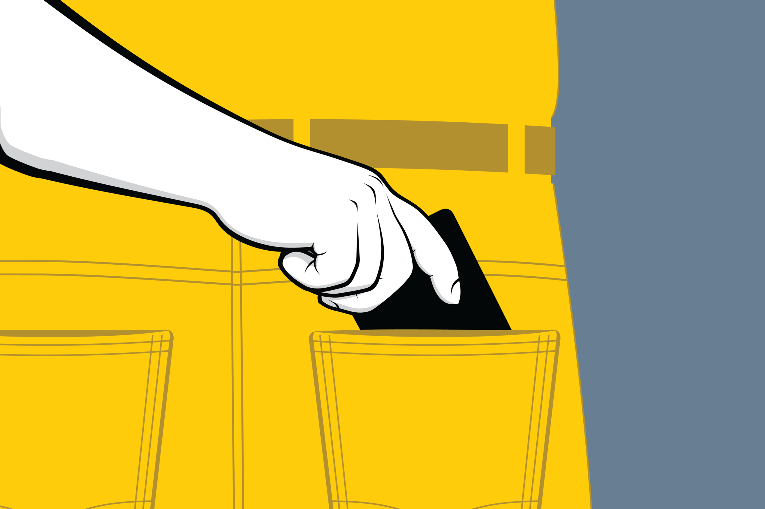 Illustration of someone pickpocketing a homeowner