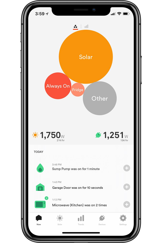 Black smartphone with Sense app loaded on screen