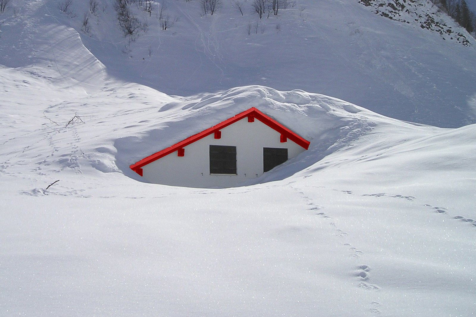 Home buried in snow