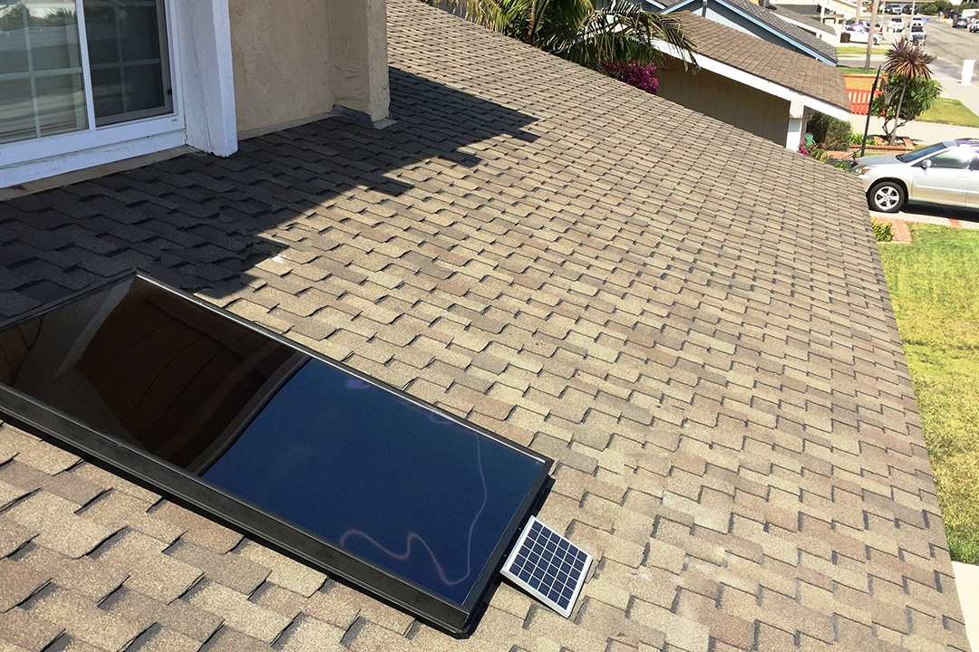 Solar air heater installed on roof of suburban home