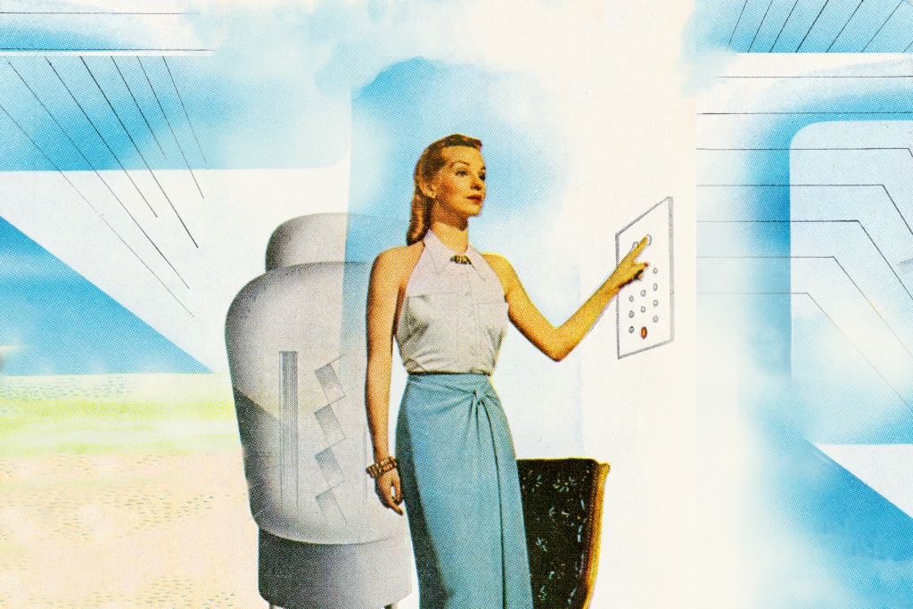 Retro illustration of woman pressing buttons on panel