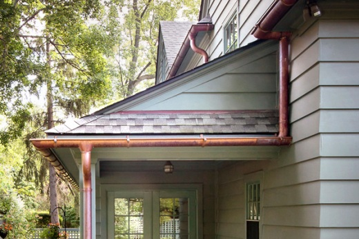 Copper gutters on a home