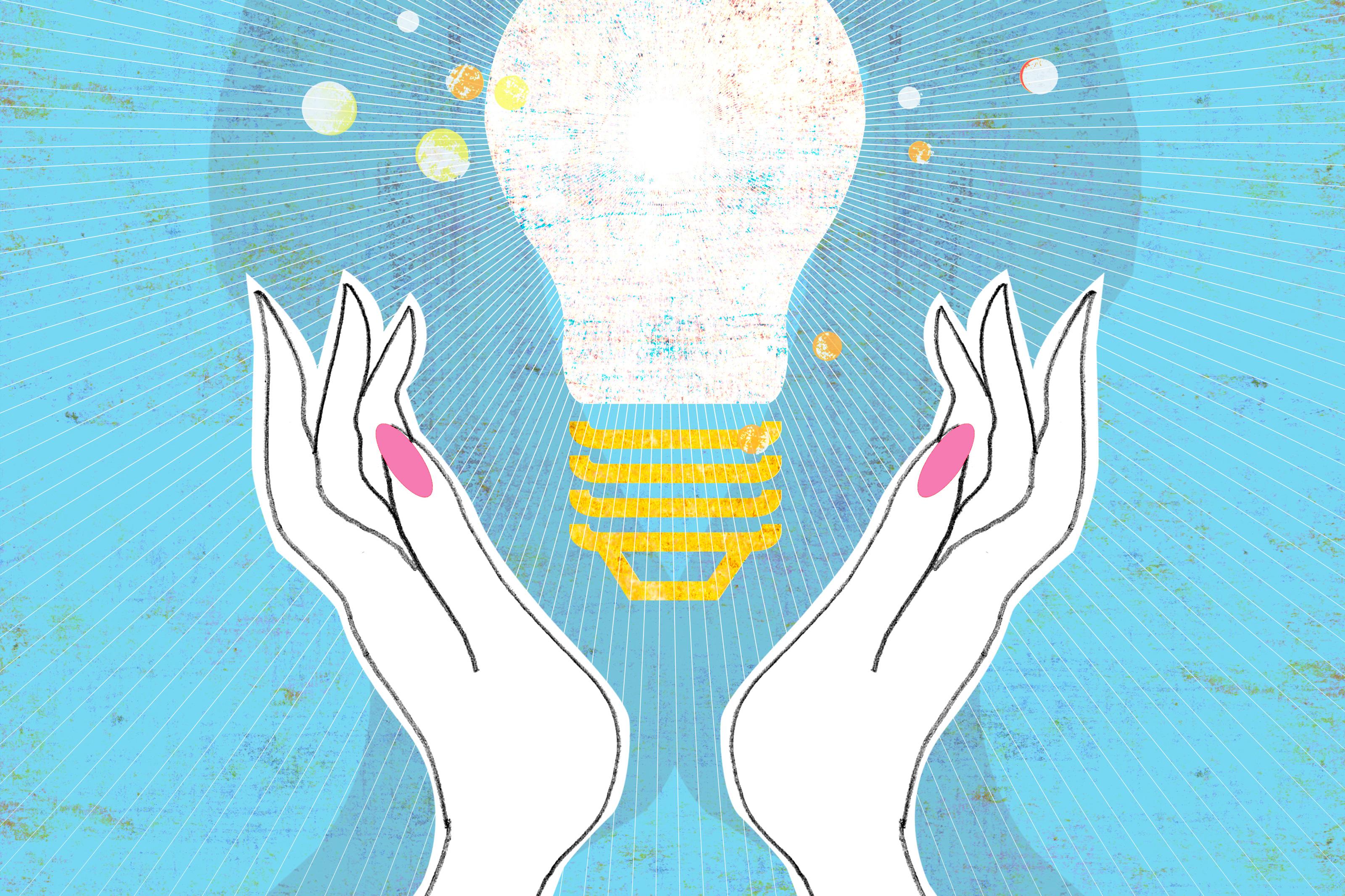 Illustration of hands surrounding a lightbulb