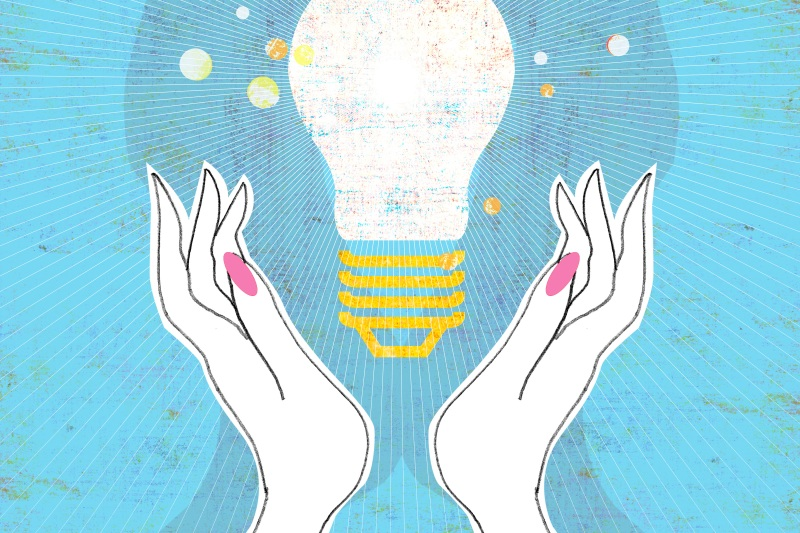 Illustration of hands surrounding a lightbulb
