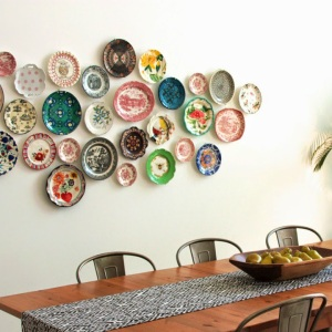 Plate collection on a wall