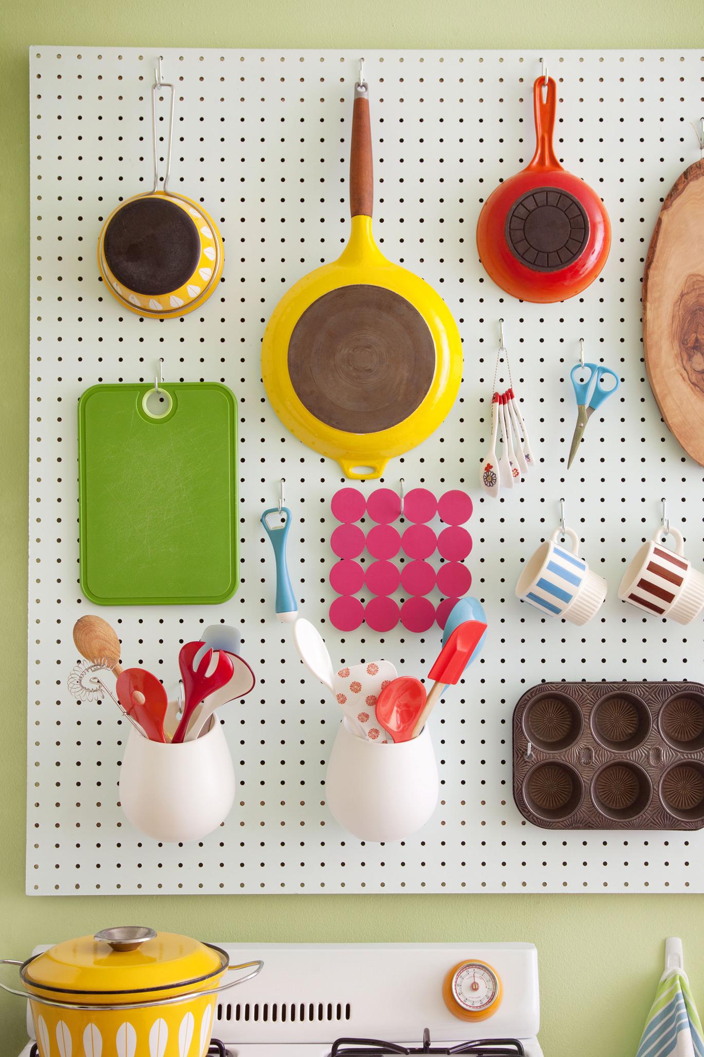 Kitchen pegboard organizer