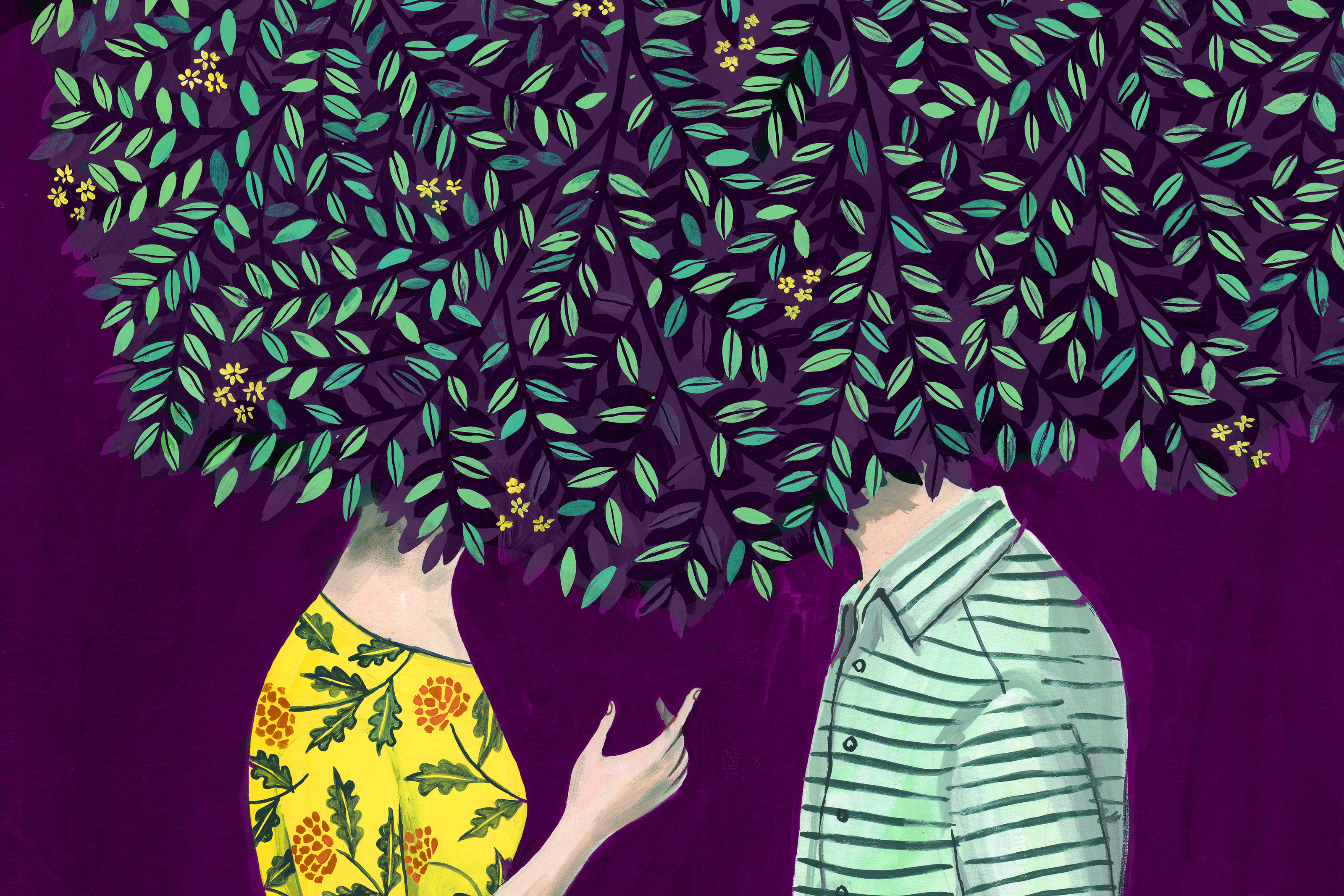 Illustration of a woman and a man with their heads in trees