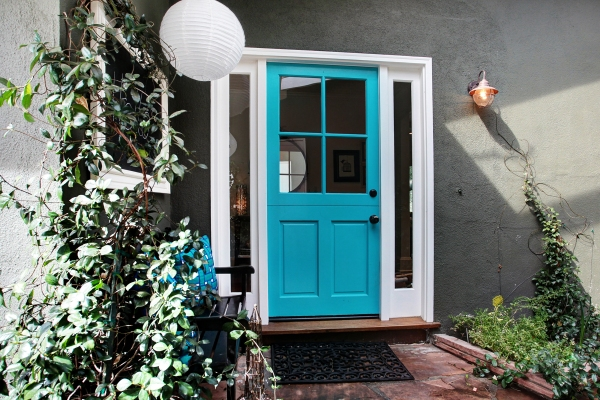 Colorfully painted front door