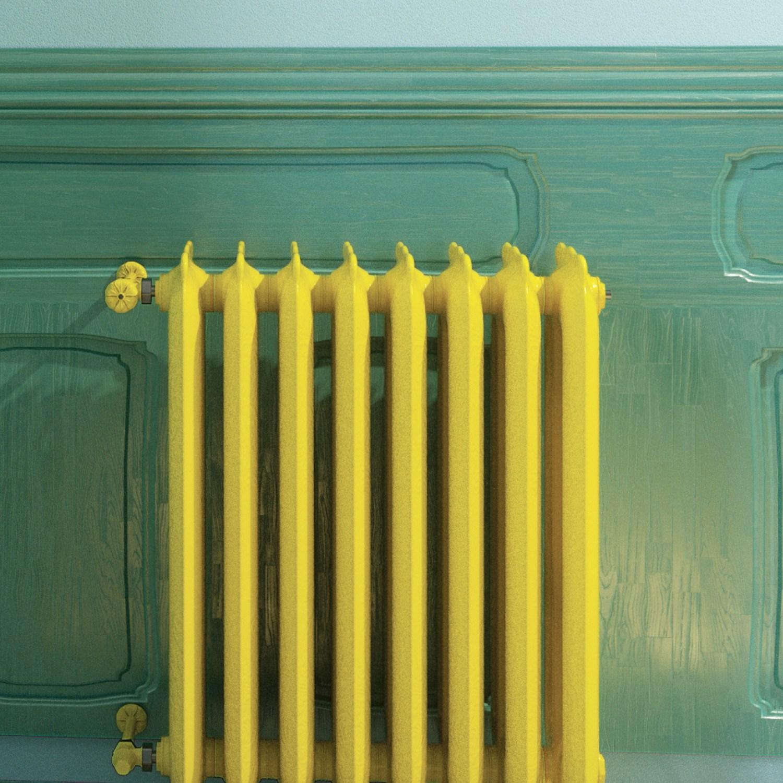 Bright yellow painted radiator