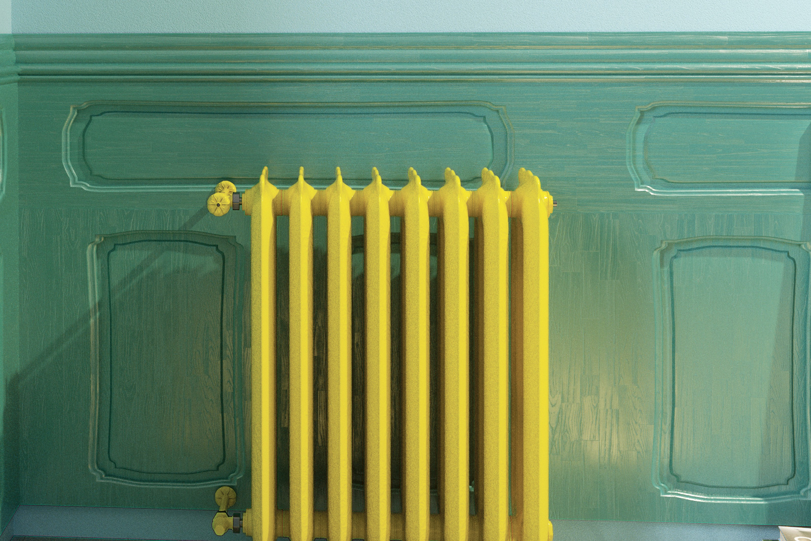 Bright yellow painted radiator