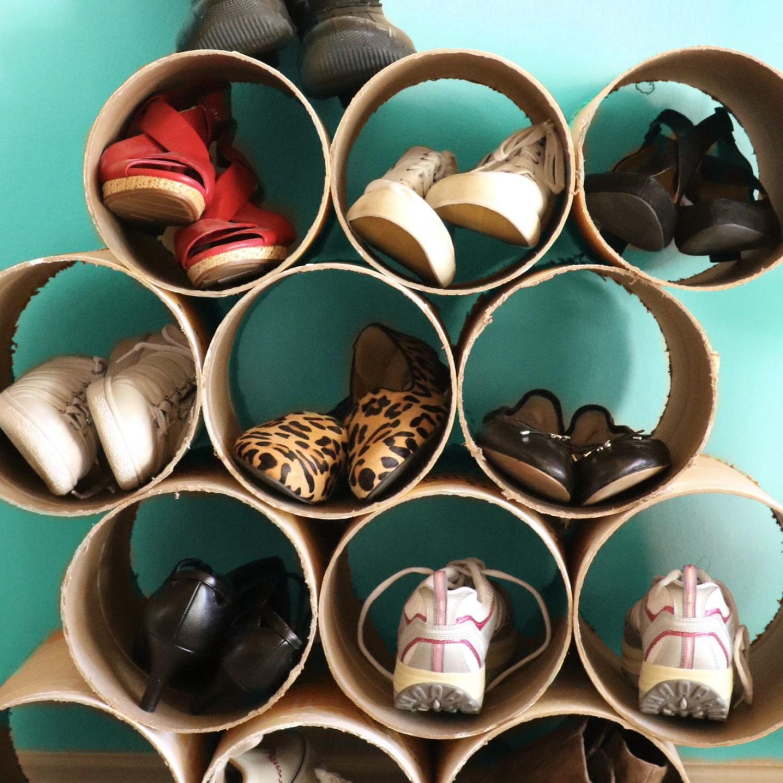 DIY shoe organizer made of cardboard concrete forms