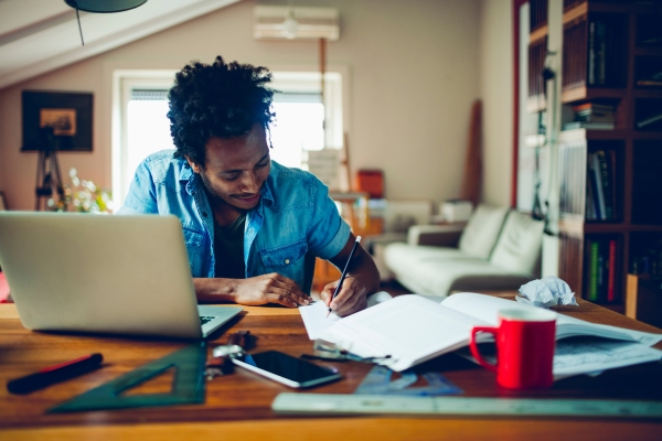 Man working from his home office