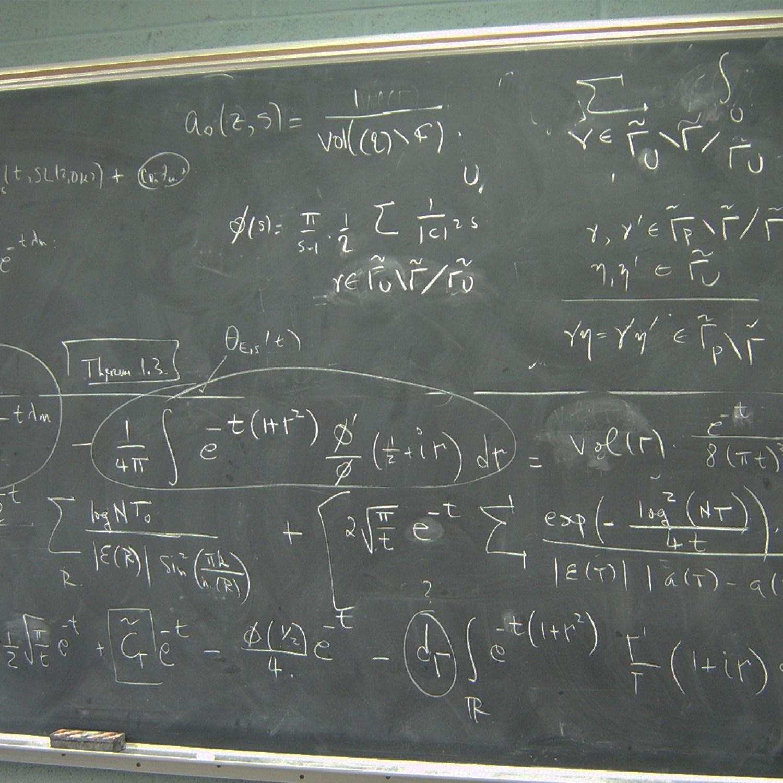 Math equation on chalkboard
