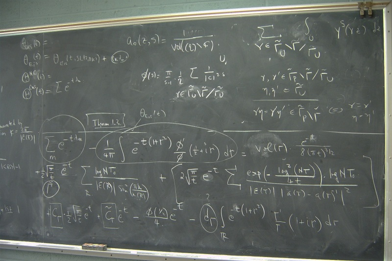 Math equation on chalkboard