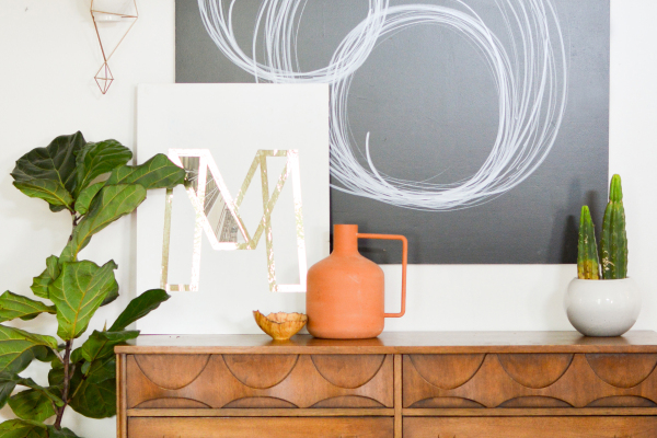 White wall with chalkboard paint square