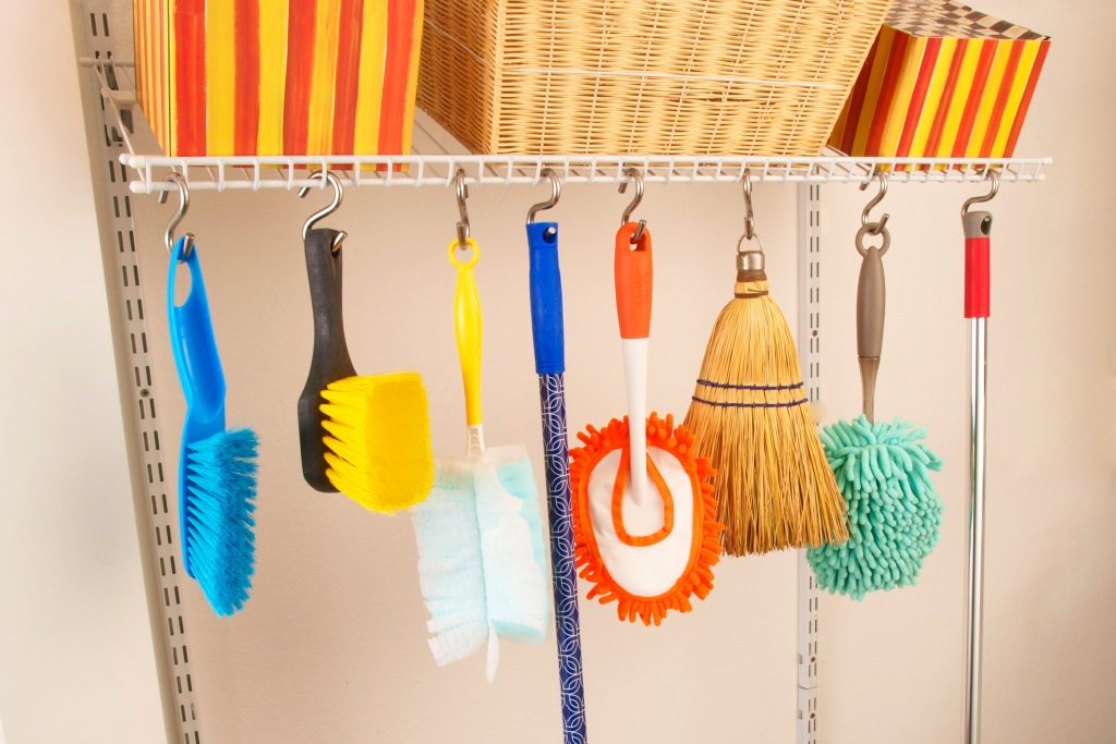 Cleaning supplies suspended with s-hooks