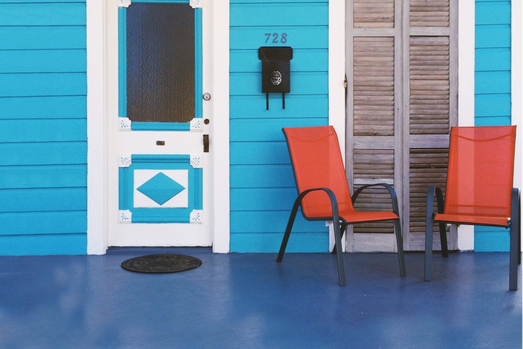 Colorfully painted front porch
