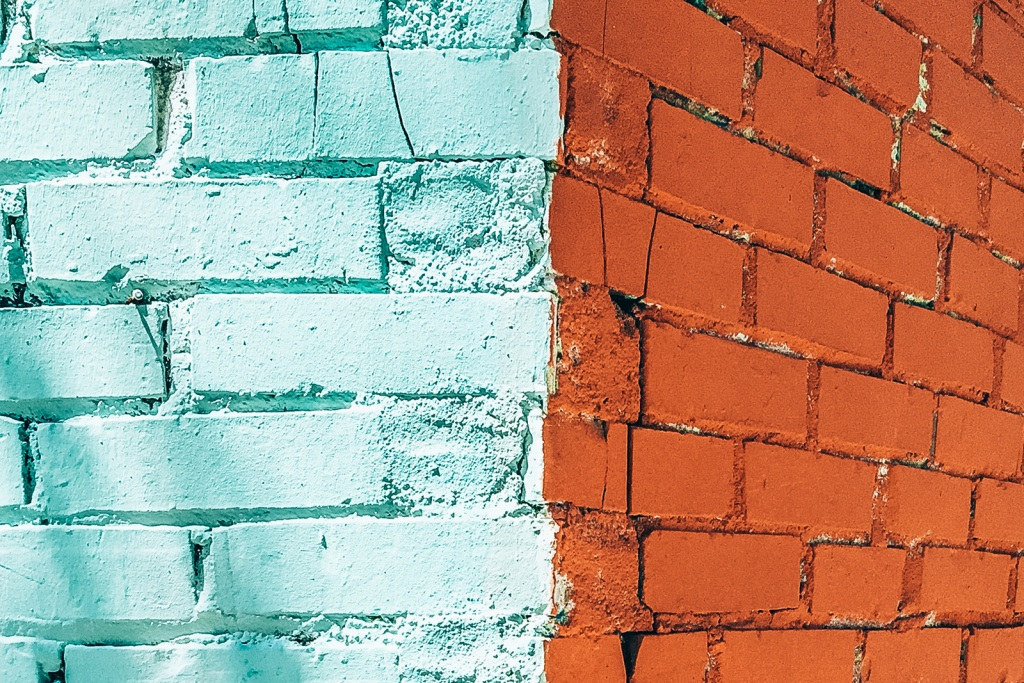Painted brick on a home exterior