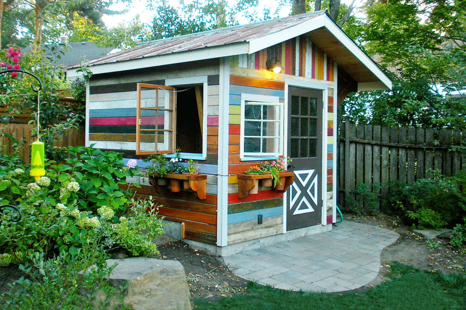 Colorful backyard shed