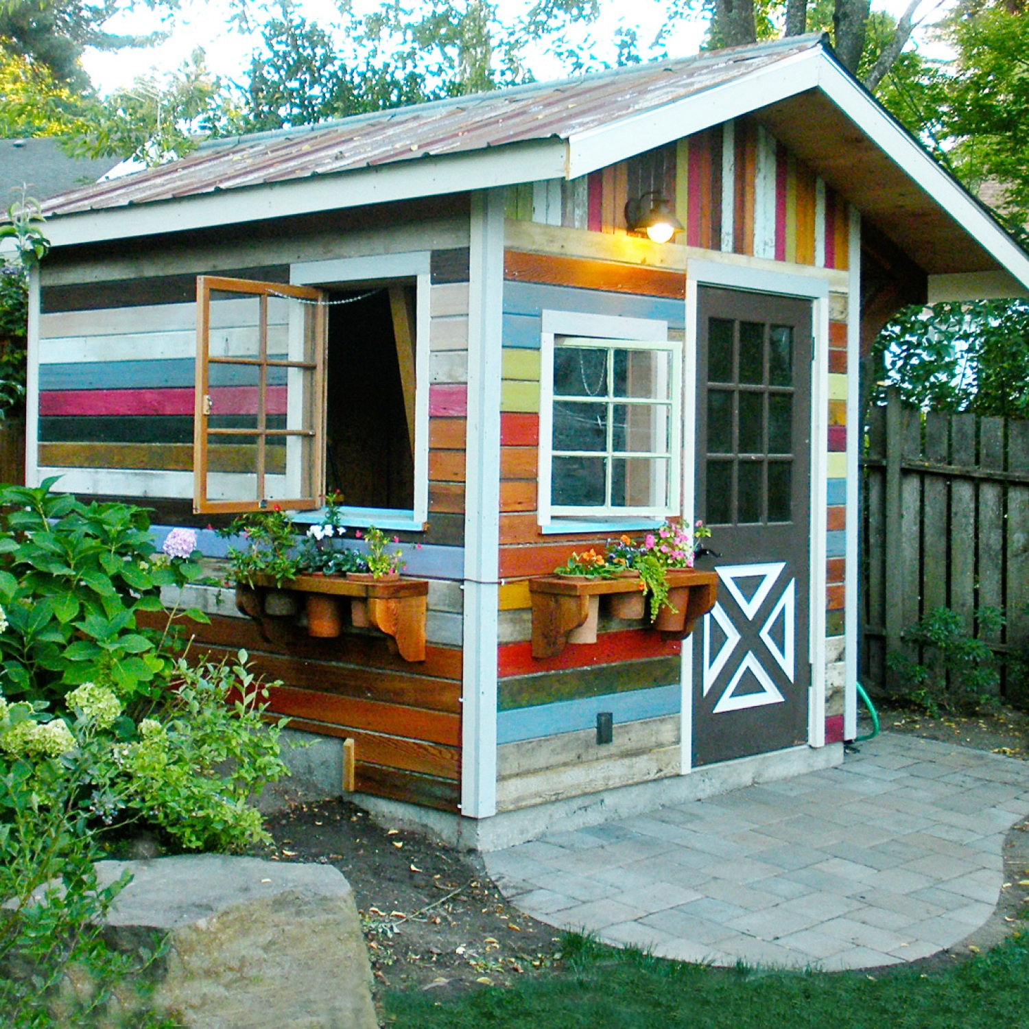 Colorful backyard shed