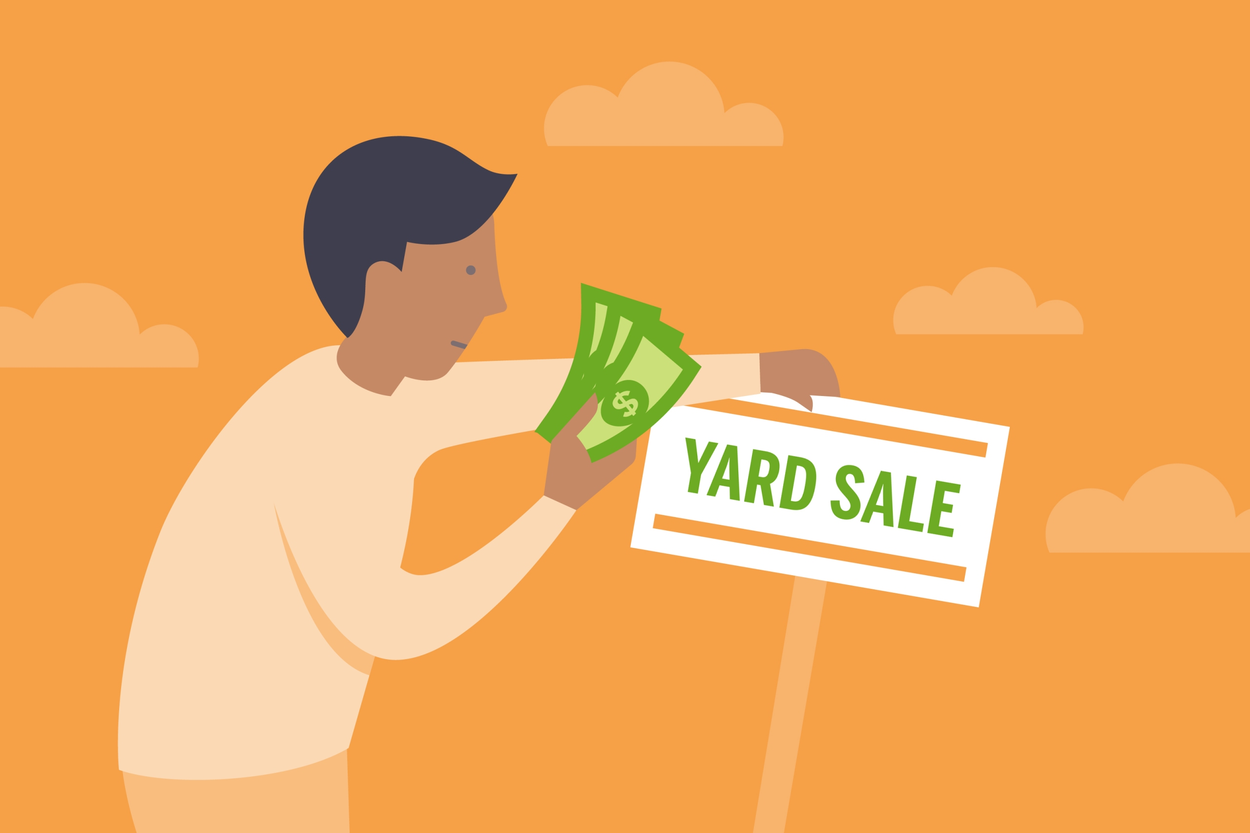 Illustration of man with a yard sale sign