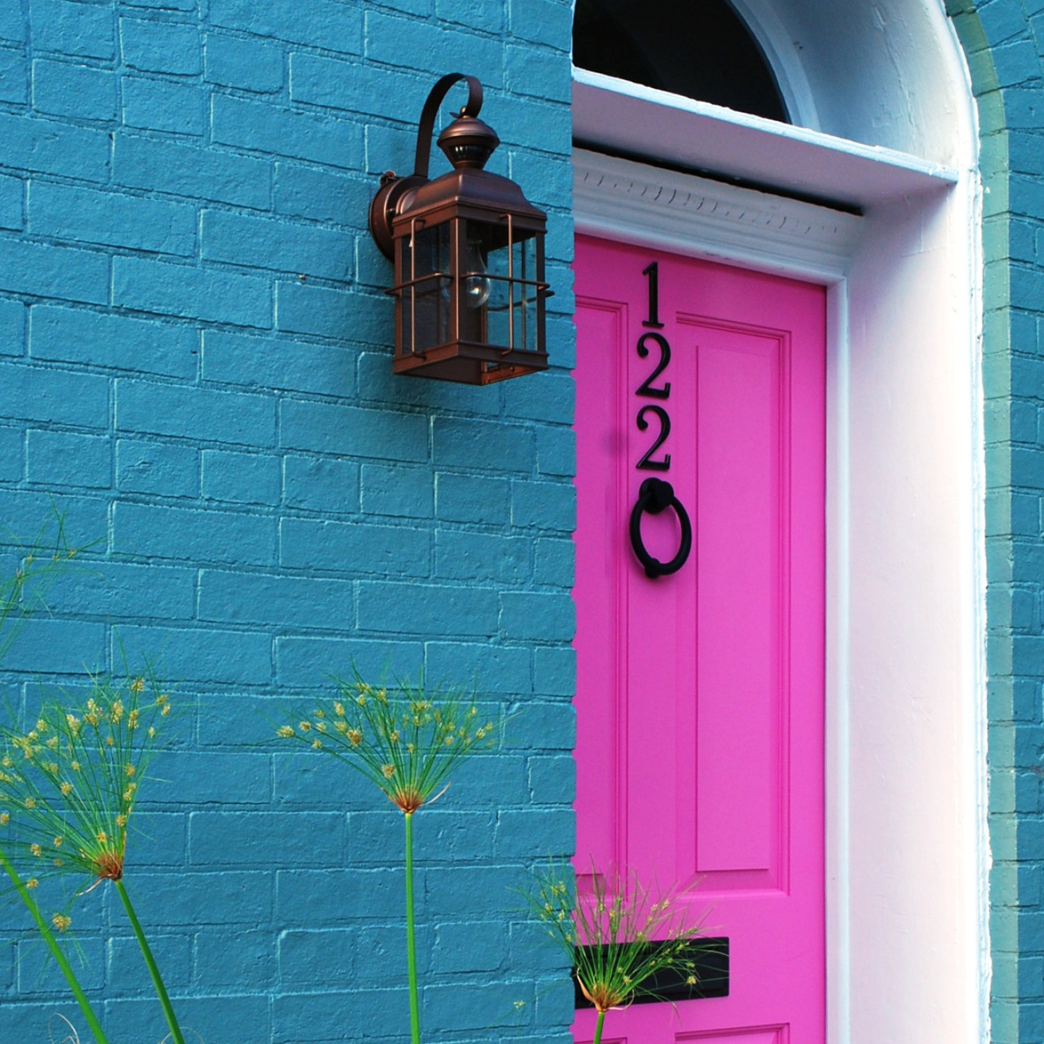 Bright pink entry door