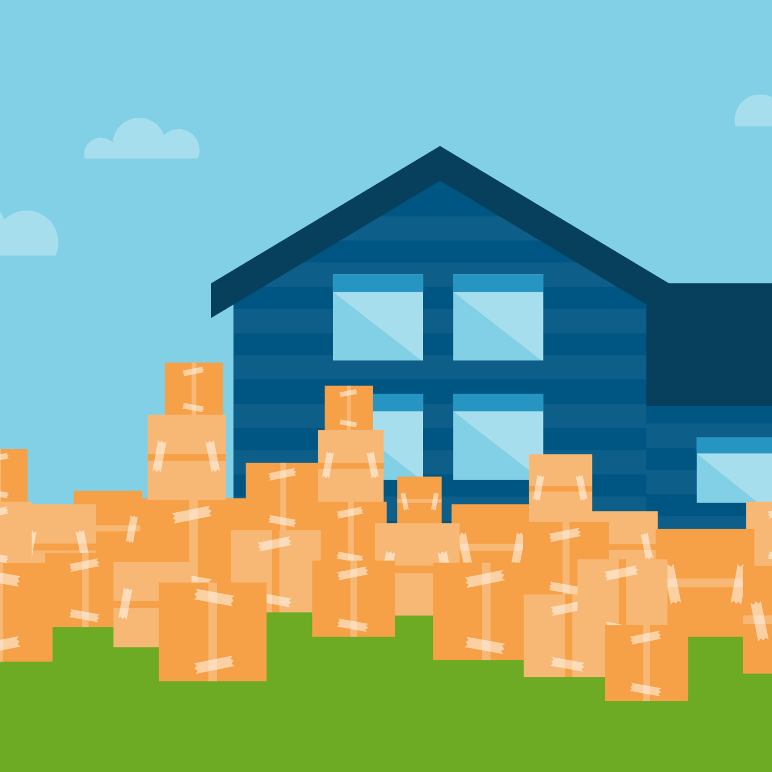 Illustration of a blue home with orange moving boxes