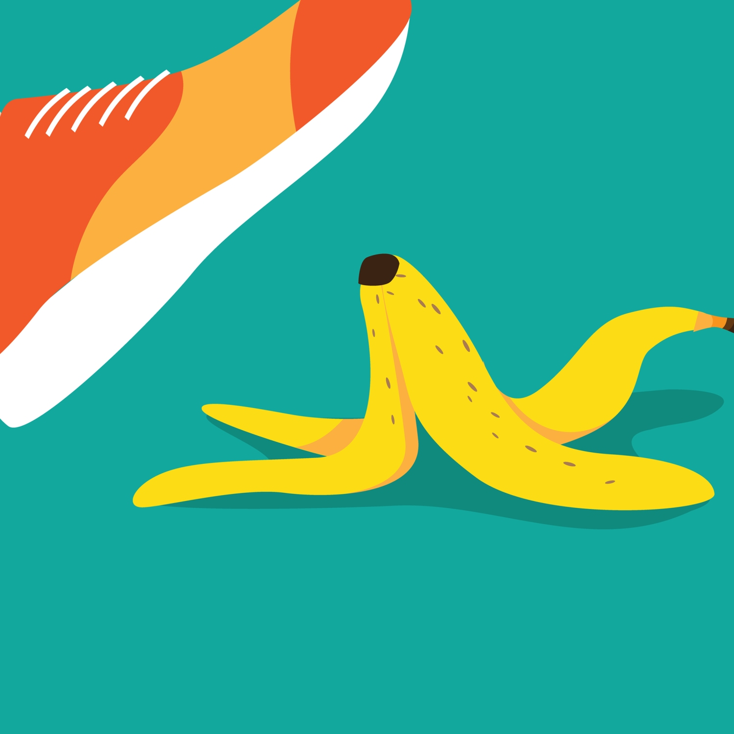 Illustration of foot slipping on a banana peel
