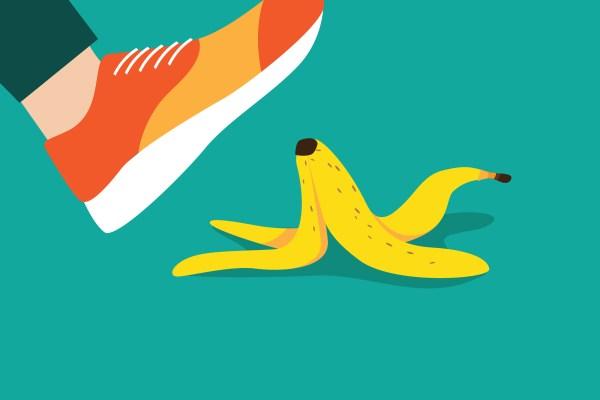 Illustration of foot slipping on a banana peel