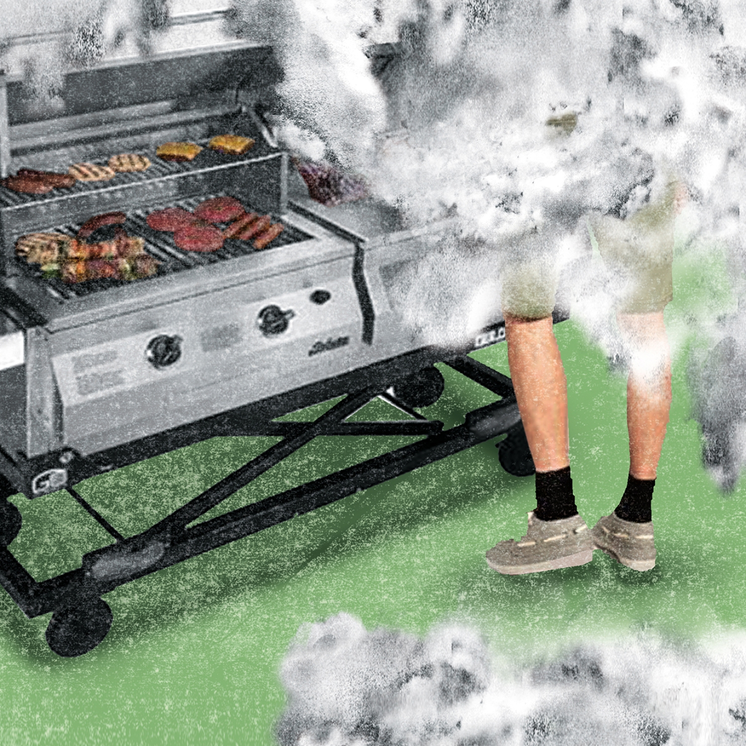 Smoke from a backyard grill