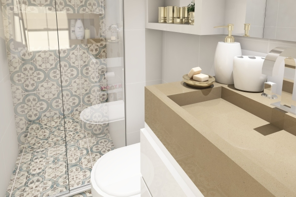 Small bathroom with white and cream tile in a shower