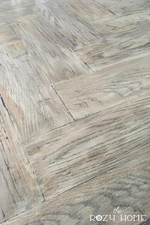 Wood herringbone countertops after gray stain