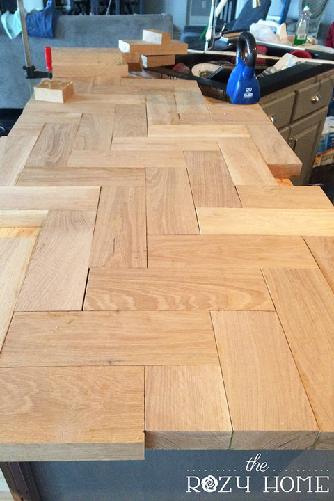 Wood herringbone countertops before stain
