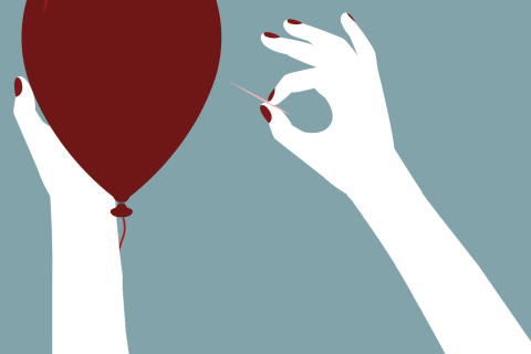 Illustration of a needle popping a balloon