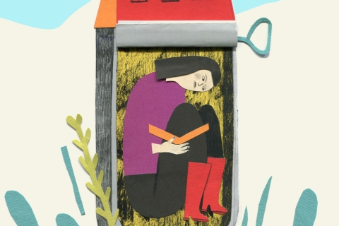 Woman scrunched in a sardine can house