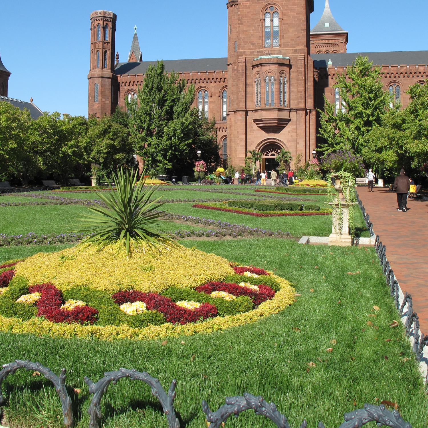 Lush green grass in front of the Smithsonian Castle