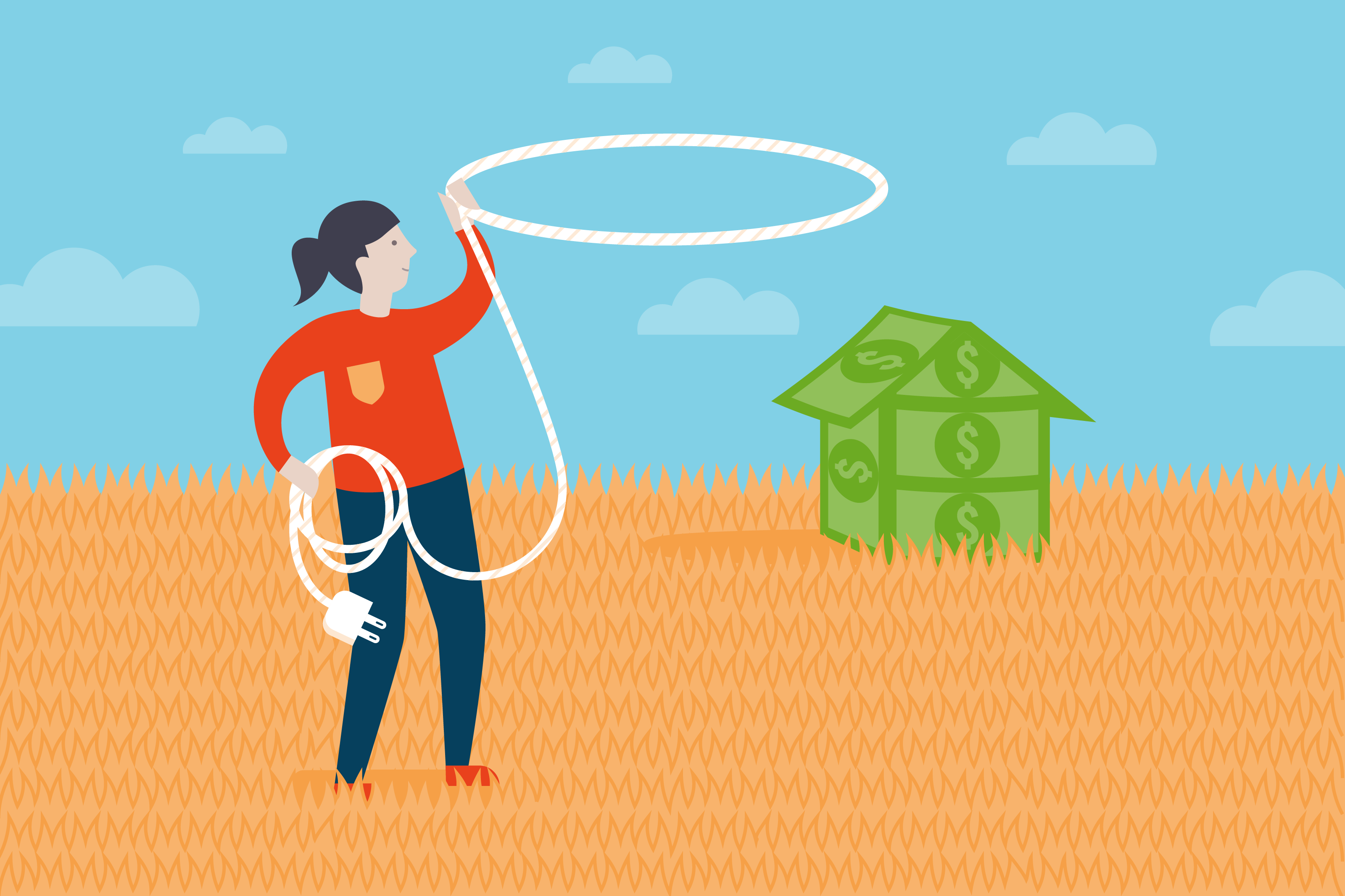An illustration of a woman with a cord and a money house