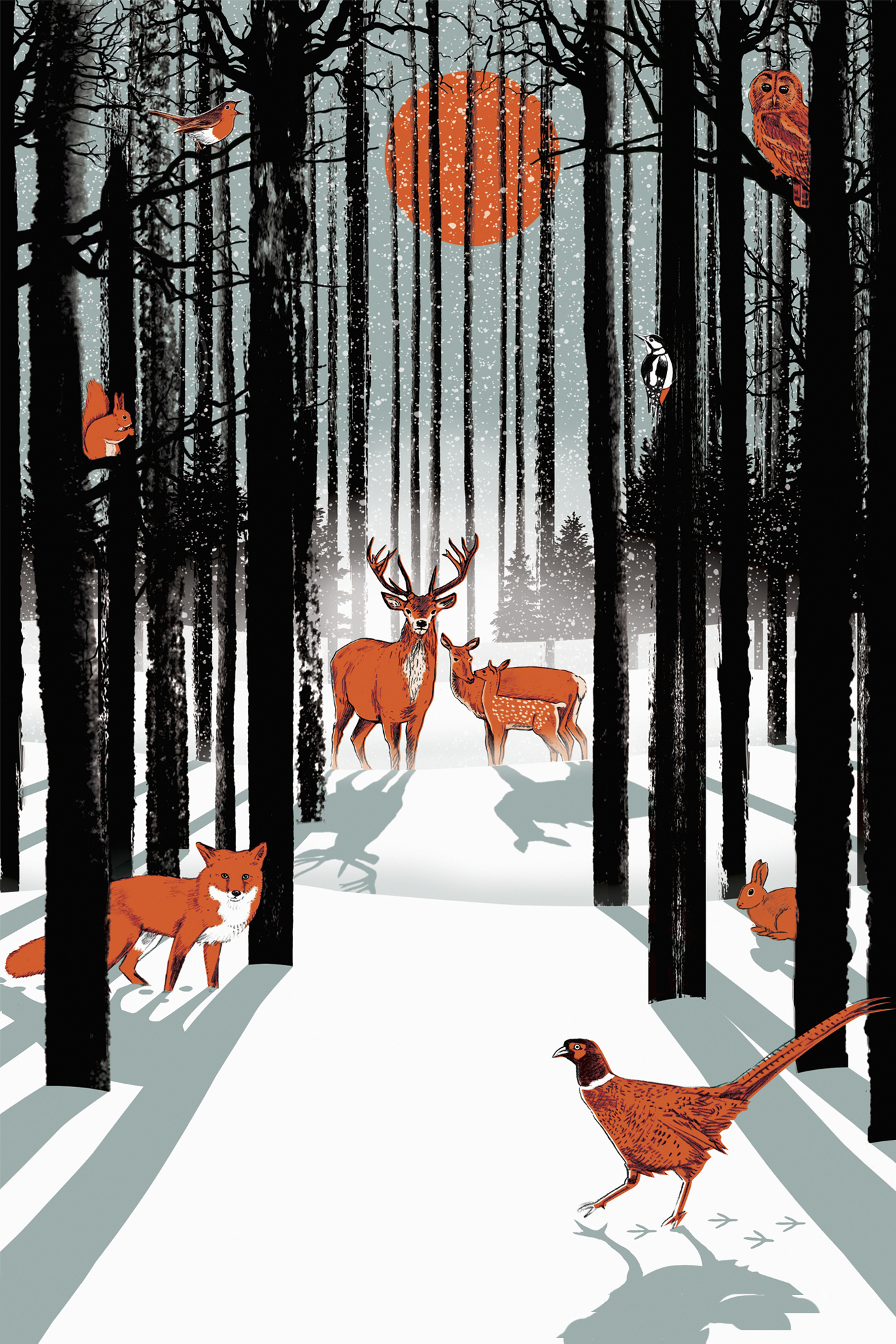 Illustration of animals standing in a snowy winter forest