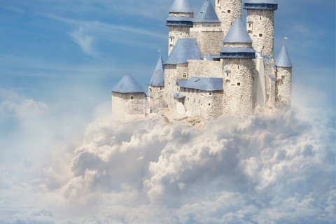 Mythical castle in the clouds